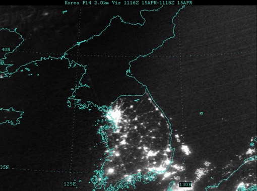 North and South Korea by night