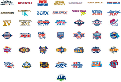 super bowl logos over time